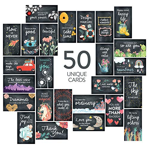 DiverseBee 50 Pack Assorted Inspirational Cards - Motivational Kindness Mini Note Cards, Encouragement Mindfulness Affirmation Card Set with 50 Unique Quotes (Business Card Size)
