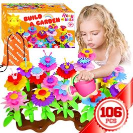 ROSYKIDZ Flower Garden Building Toys for Girls – [ 106 PCS ] STEM Toy Gardening Pretend Play Gift for Kids Age 3 4 5 6 Years Old – Preschool Children Girl Gifts Toys Set with Storage Bag