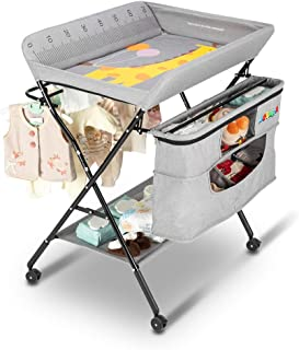 Sponsored Ad - JOYMOR Mobile Baby Changing Table with Wheels, Folding Infant Diaper Table, Diaper Changing Station with La...