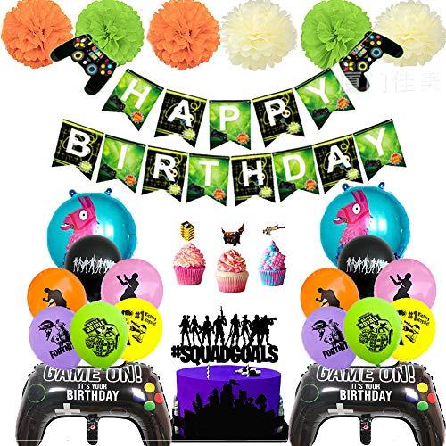 BESLIME Artículos de Fiestas para Fanáticos de los Videojuegos Decoraciones para Cumpleaños de Tema de Videojuegos con Globos Cake,Toppers para Decoraciones
