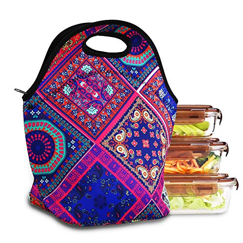 YXTY Soft Neoprene Lunch Tote Bag,Lightweight Insulated and Reusable Lunch Bag Tote Handbag Lunchbox Food Container Gourmet Tote Cooler Warm Pouch for School Work Office (Colorful Paisley)