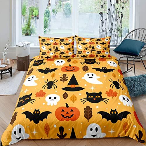 Erosebridal Halloween Duvet Cover Twin Cartoon Pumpkin Comforter Cover Lantern Bedding Ghost Quilt Cover for Kids Boys Girls Bedroom Decor 2 Pcs Bedding Set (1 Duvet Cover 1 Pillow Case) Orange