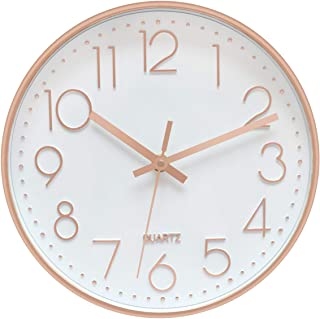 Foxtop Modern Silent Quartz Wall Clock Non-Ticking Decorative Battery Operated Clock for..