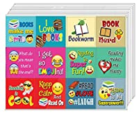 Creanoso Inspirational Book Reading Sayings Emoji Stickers for Bookworms (20-Sheet) - Wall Decal Art for Indoors Outdoors - Great wall decoration sticker for any surface Awesome Parents, Teacher Rewards and Classroom Incentive Gifts for Bookworm, Tee...