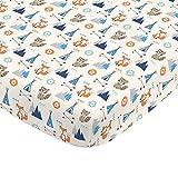 NoJo Aztec Mix & Match 100% Cotton Grey/Fox Fitted Crib Sheet, Navy, Orange, Aqua, Ivory