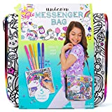 Just My Style Color Your Own Unicorn Messenger Bag by Horizon Group USA, Unicorn Themed Holographic Purse,DIY Arts & Craft Activity Gift, Sparkling Gemstones, Bright Markers Included, Designs May Vary