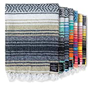 ⭐ HANDMADE PREMIUM MEXICAN BLANKET: Our serape and baja blankets are cozy, practical, and full of vibrant colors to add joy wherever you take them. Each Aztec blanket is unique, woven by local artisans in Tlaxcala, Mexico on a traditional wooden loom...