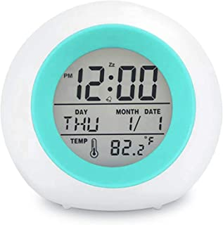 Kids Digital Alarm Clock, 7 Color Night Light, Snooze, Temperature Detect for Toddler,..