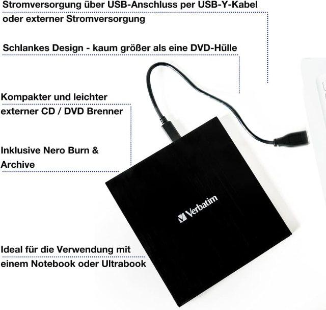 Verbatim External Slimline CD/DVD Writer I USB 200.20 Gen20 mit USB-C