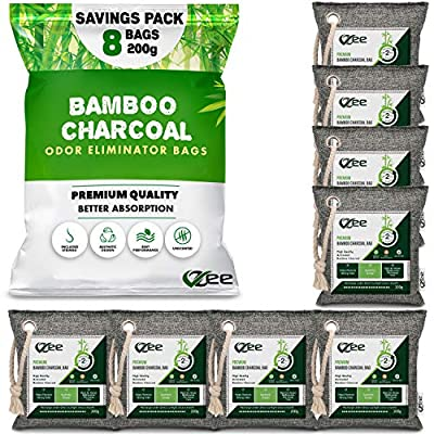 POWERFUL ODOR ELIMINATOR: VZee Bamboo Charcoal Bags eliminates foul odors at its source in less than 24 Hours. We use premium quality, high absorbing Activated Bamboo Charcoal which is 10x more absorbent. We offer you Mega Savings Pack of 8 Bags, eac...