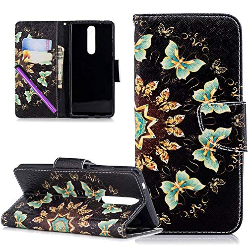 COTDINFOR Custodia Nokia 5 2018,Cover Pelle Nokia 5 2018,[Supporto Stand][Carta Fessura],Magnetica Protettiva Flip Wallet Cover per Nokia 5 2018 / Nokia 5.1 2018 Gold Butterflies BF.