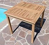 ASS Teak Holztisch Gartentisch Garten Tisch 80x80cm Gartenmöbel Holz sehr robust - 7