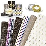 GuKKK Papier Cadeau, 6 Feuilles De Papier d'emballage Cadeau et 2 Rouleaux de...
