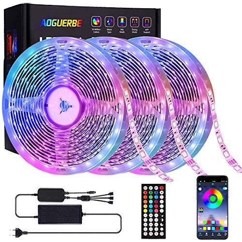 Striscia LED 15M, AOGUERBE Bluetooth Strisce LED RGB Musica con 44 Tasti Telecomando IR, Controllato da APP, Luci Colorate per Decorazioni, Cucina, Bar, Festa,Camera da Letto, 3 Rotoli da 5M