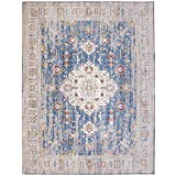 ReaLife Machine Washable Rug - Stain Resistant, Non-Shed - Eco-Friendly, Non-Slip, Family & Pet Friendly - Made from Premium Recycled Fibers - Persian Distressed - Light Blue, 5 'x 7'