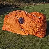 Andes - Abri de survie pour 2 personnes - léger/compact/avec fenêtre/sac de transport - pour la randonnée/montagne en cas d'urgence/de tempête - orange vif - 450 g - L 143 x l 46 x H 91 cm
