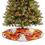 Homesonne Alfombra para árbol de Navidad con letras mayúsculas de arreglo de flores vibrantes margaritas de colores para decoración de fiestas de Navidad, multicolor, 76,2 cm