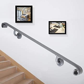 Happybuy 4 Foot Handrails For Stairs Step Railing Bracket Set | Handrails For Steps Indoors | Staircase Around Lift Wall | Glass Panel Stainless Steel Handrail | Narrow Staircase Brushed Nickel | Width Hand | Minimalist