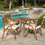Christopher Knight Home 296620 Deal Furniture Deandra | 5-Piece Outdoor Dining Set with Cu, Natural Wood Stain
