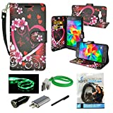 Grand Prime Case, Mstechcorp Galaxy Grand Prime Wallet Case, Luxury PU Leather Case Flip Cover with Card Slots Stand For Samsung Galaxy Grand Prime - Includes Accessories (Flower Hearts)