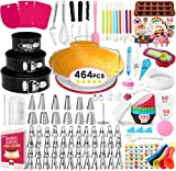 464 PCS Cake Decorating Supplies Kit with Baking Supplies, Springform Cake Pans Set, Cake Turntable stand, 48 Piping Icing Tips & Bags, 6 Russian Nozzles,Icing Spatulas,Fondant Tools,Measuring Tools