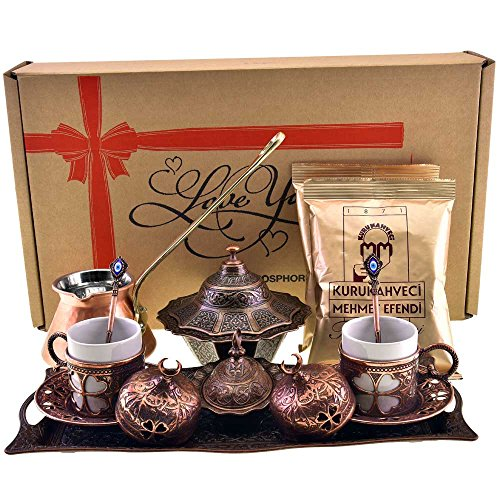 Demmex CopperBull 2018 Turkish Greek Arabic Coffee Set with...