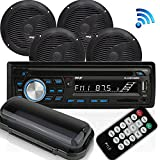 Wireless Bluetooth Marine Audio Stereo - Kit w/Single DIN Universal Size Radio Receiver, Hands-Free Calling, 6.5' Waterproof Speakers, CD Player, MP3/USB/SD Readers & AM/FM Radio - Pyle PLCDBT95MRB