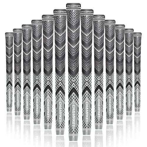 Champkey Victor Hybrid Golf Grips Set of 13(5 Oz Solvent,Hook Blade,15 Tapes & Vise Clamp Available)-Choose Between 13 Grips & All Repair Kits and 13 Grips & 15 Tapes (Grey(Includes 15 Tapes),S)