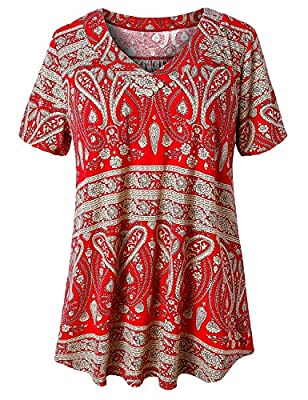 Pull on Closure Short Sleeve Tops for Women, 95% Polyester and 5% Spandex, Soft and Lightweight Women T Shirts for Business, Loose Style Tunics, V Neck, Office Blouses for Women Work Tunic Tops for Leggings for Women, Jeans, Skirts, Pants, Shorts Sum...