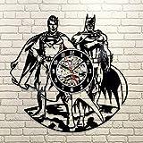 Kovides Retro Vinyl Record Clock Vintage Wall Clock Batman VS Superman DC Comics Art Modern Gift Idea Batman VS Superman Wall Clock Large Decorations for Party Batman Wall Art