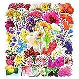 FENGLING Pegatinas de Dibujos Animados de Flores Hermosa Planta Creativa Graffiti Pegatina Impermeable para portátil Nevera Maleta Guitarra 50 Piezas