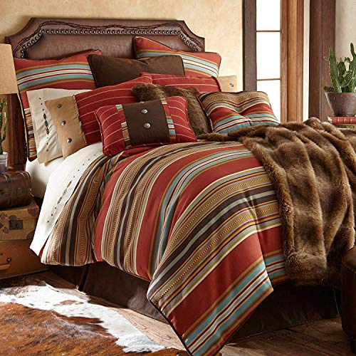 HiEnd Accents Calhoun Rustic Southwestern Bedding Set, Super King, Red 5 PC