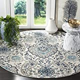 Safavieh Madison Collection MAD600C Bohemian Chic Glam Paisley Area Rug, 5' Round, Cream/Light Grey