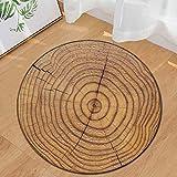 Clearance Sale!DEESEE(TM) Wood Grain Kids Play Round Carpet Home Area Rug Living Room Floor Yoga Mat (G)