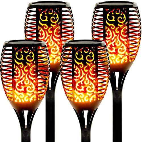 Solarlampen für außen 4 Stück Flammenlicht Gartenfackeln IP65 Wasserdicht Solar Flamme Fackeln Lichter Solarleuchten mit Realistischen Flammen Automatische EIN/Aus [Energieklasse A++] (70cm)