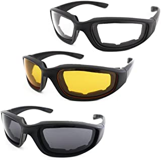 3 Pair Motorcycle Riding Glasses Padding Goggles UV Protection Dustproof Windproof..