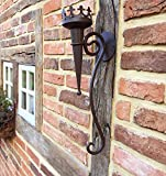 Wandkerzenhalter in Antik Optik aus Metall   50 cm x 9 cm   Mittelalterliche Fackel   Wandfackel rustikal   historische Burgfackel von Antikas