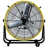 Simple Deluxe 24 Inch High Velocity Movement Heavy Duty Metal 3 Speed Air Circulation for Industrial, Commercial, Residential, and Shop Use-ETL Safety Listed Drum Fan, 24', Yellow