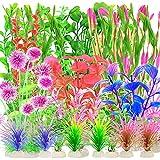30piezas de plantas de plstico para acuarios,decoraciones de plantas acuticas para peceras,plantas de acuario artificiales,plantas acuticas falsas realistas,decoracin de acuarios