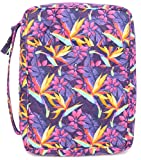 DIWI Quilted Bible Cover Medium Sizes 8.75 X 6.25 X 2.5 Inches Good Book Case (M, C1 Purple Hope)