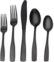 Matte Black Silverware Set, Satin Finish 20-Piece Stainless Steel Flatware set, Tableware..