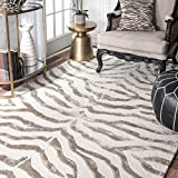 nuLOOM Zebra Hand Tufted Plush Wool Rug, 5' x 8', Grey