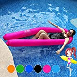 JINSEY Pool Floats Giant Water Hammock 440lb Capacity No Leak Ripstop Fabric Fast Inflated No Pump Needed (Rose)