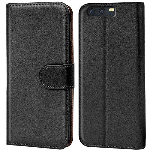 Verco P10 Hülle, Handyhülle für Huawei P10 Tasche PU Leder Flip Case Brieftasche - Schwarz