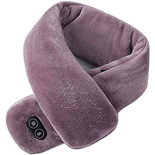 Écharpe chauffante électrique USB Rechargeable Vibration Massage Lavabo Hiver Chaudière Chaud Soft BABO Châle pour Hommes et Femmes Soins pour la Colonne cervicale,Marron
