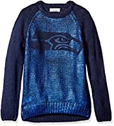 Officially licensed NFL product Crew neck, raglan sleeve with ribbed collar, cuffs, and hem 100% Acrylic iceland yarn Team logo knocked out of front metallic print Black garment with petwer metallic print