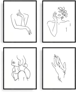 Minimalist Line Art Prints Set of 4 By Haus and Hues | Aesthetic Art Posters | Wall Art..