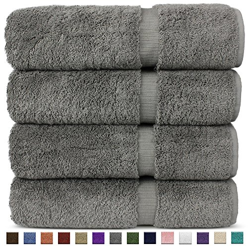 Chakir Turkish Linens Hotel & Spa Quality, Highly Absorbent 100% Turkish Cotton Bath Towels (4 Pack, Gray)