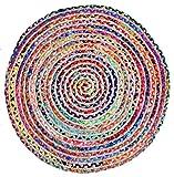 Fernish Décor Round Rag Area Rug- Jute & Cotton Multi Chindi Braid Rug- Hand Woven & Reversible- Multi-Color Vibrant Fabric Rags Bohemian Colorful Rug (4 feet)