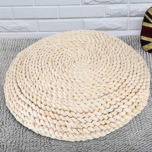 Almofada de tatame, almofada de assoalho de tapete tecido à mão em estilo japonês redondo tapete para ioga de meditação